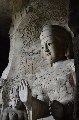 One of the gigantic Buddha statues inside the number 3 grotto