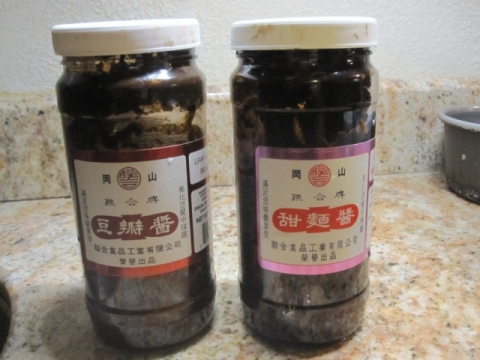Sweet bean paste (tianmianjiang) and non-spicy soy bean paste (doubanjiang)