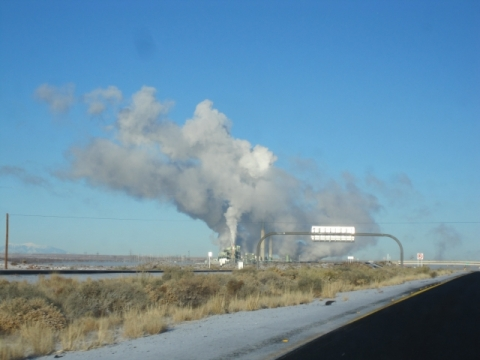 Plumes of (greenhouse?) gases released by a factory on Highway 5