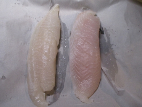 Tilapia fillets with shallow cuts on parchement paper