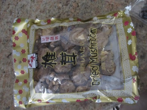 Dry shiitake mushrooms in package