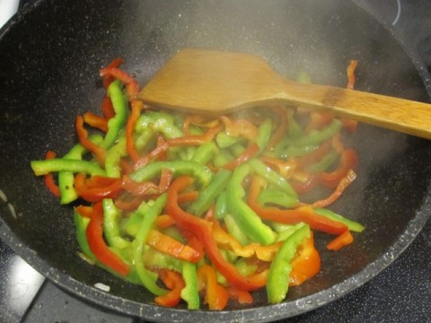Stir fry bell pepper strips