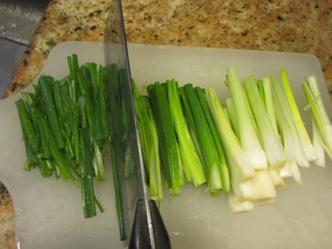 Thinly julienne scallions into thin strips