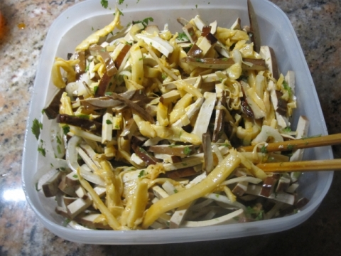 Thin dry bean curd strips mixed with all ingredients