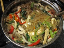 Korean style glass noodle with stir-fried vegetables